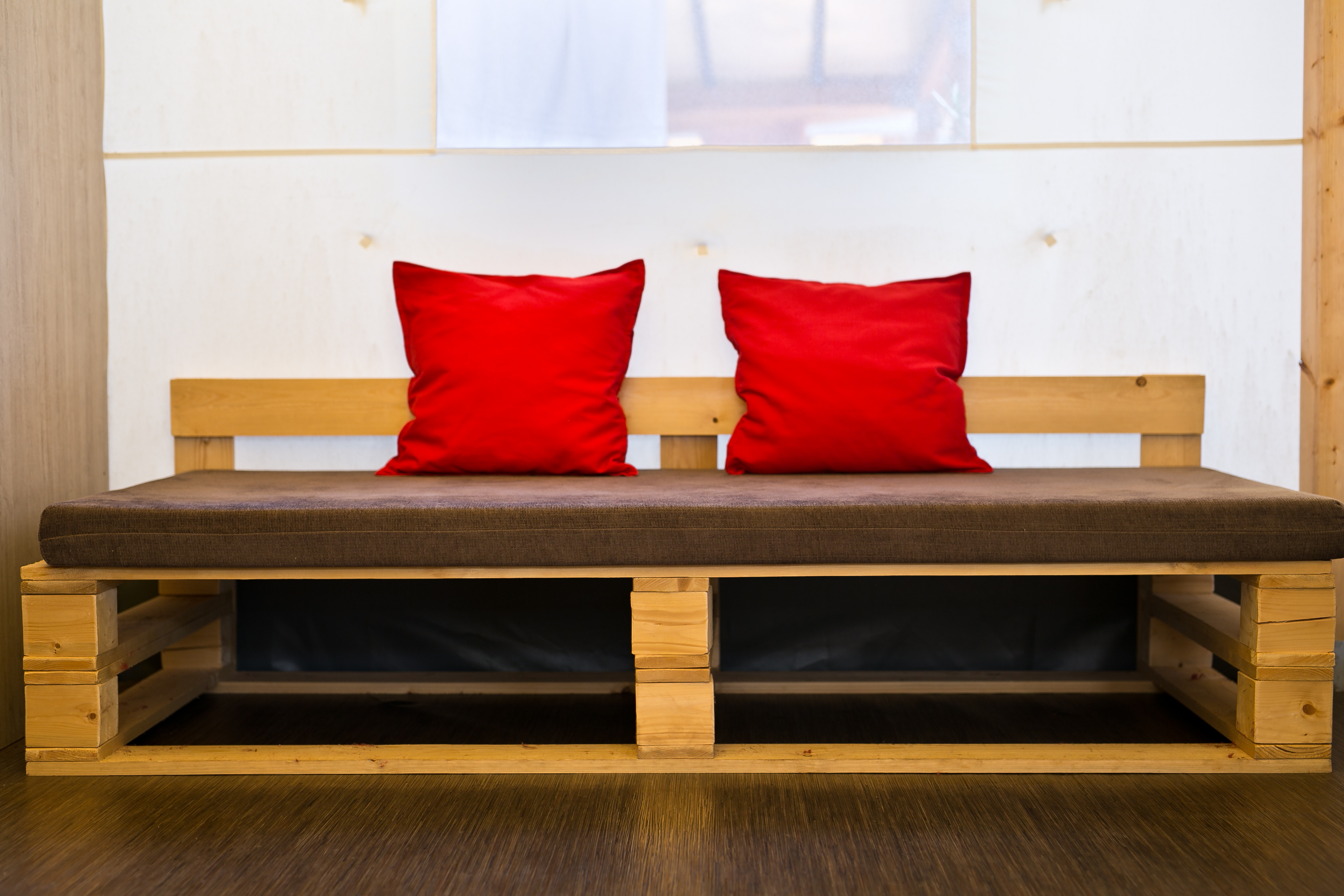pallete sofa in glamping tent