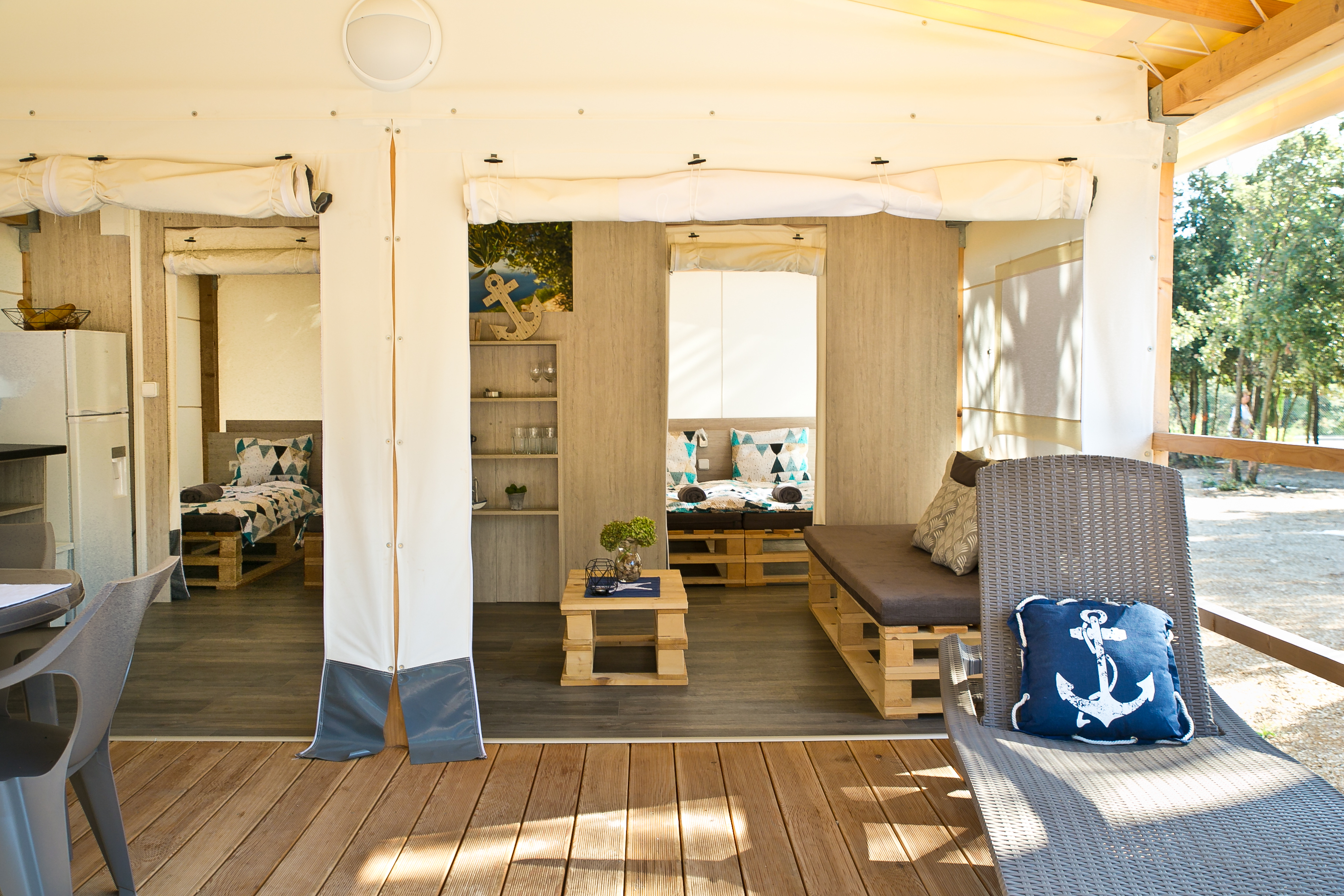 comfortable terrace in glamping tent